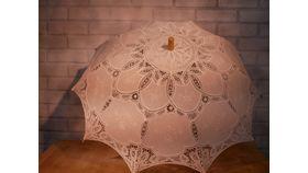 Image of a White Antique Lace Parasol