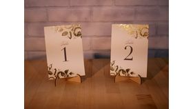 Image of a Gold Foil Floral Paper Table Numbers