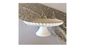 """Image of a 12"""" Round White Glass Cake Stand Accessories"""