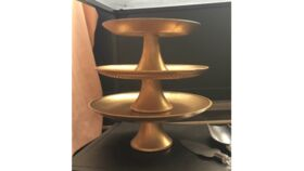 "Image of a 10"" Round Gold Cake Stand Accessories"