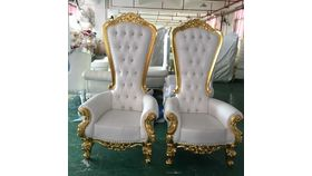 Image of a Throne Chair (White/Gold Trim)
