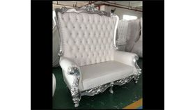 Image of a Throne Couch (White/Silver Trim)