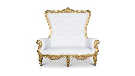 Image of a Throne Couch (White/Gold Trim)