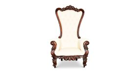 Image of a Throne Chair (Antique White/Mahogany Trim)