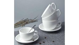 Image of a White Porcelain Coffee Cup and Saucer