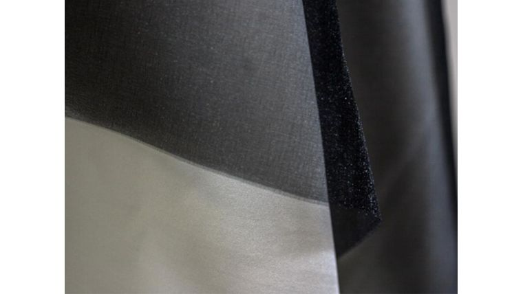 "Picture of a 4"" 108"" Chair Sash Black 933 Sparkle Organza"