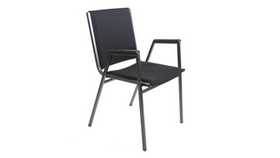 Image of a Stacking Chair Black/Chrome with arms