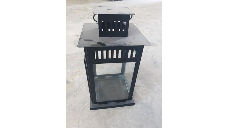 "Picture of a 24"" Black Metal Lantern"