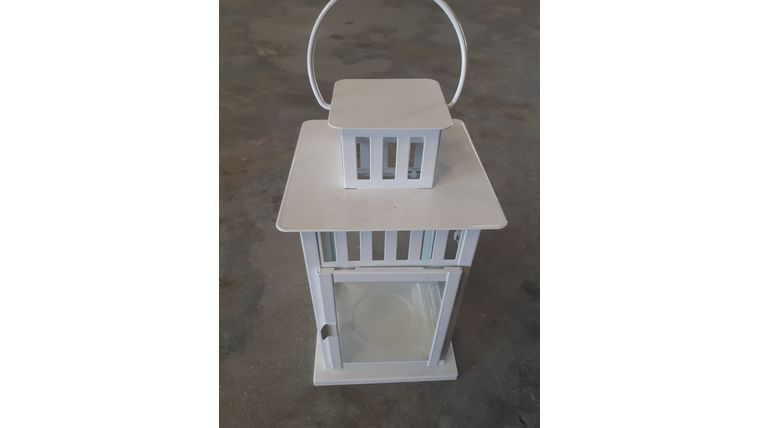 "Picture of a 12"" White Metal Lantern"