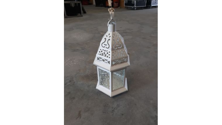 "16"" White Decorative Metal Lantern : goodshuffle.com"