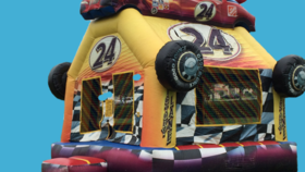 Image of a Race Car Bounce House
