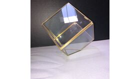 Image of a GEOGEOMETRIC PENTAGON TERRARIUM & CANDLE HOLDER - GOLD - 4 3/4""