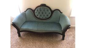 "Image of a Vintage Sofa ""Bleu"" Suede"
