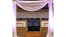 10 - Pipe & Drape 2 Post Arch with White Sheer Draping Top Swag image