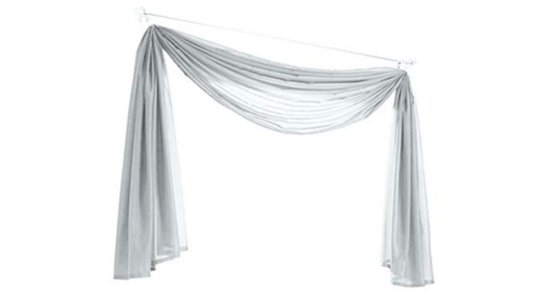 Picture of a 10 - Pipe & Drape 2 Post Arch with White Sheer Draping Top Swag