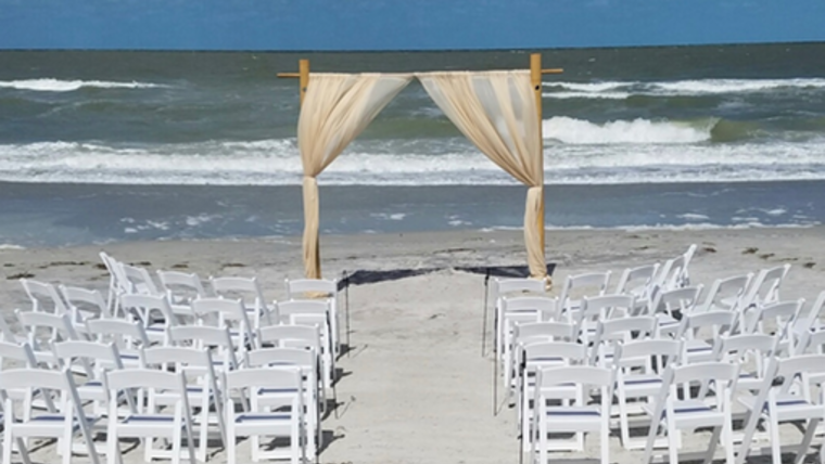 Picture of a 05 - Bamboo 2 Post Arch with Sheer Draping