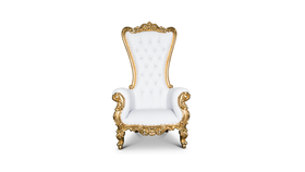 Image of a 02 - White Throne Chair with Gold Trim