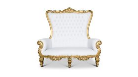 Image of a 01 - White Love Seat Throne with Gold Trim