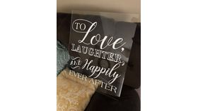 "Image of a Acrylic Sign ""Love Laughter Happily Ever After"""