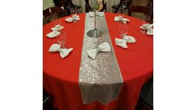 "Image of a 80"" Silver Sequin Runner"