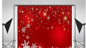Image of a Holiday Themed Backdrop-Red & Snowflakes