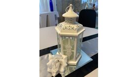 "Image of a 12"" Metal Lanterns White w/Delicate Cutouts"