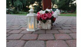 """12"""" Metal Lanterns White w/Delicate Cutouts image"""