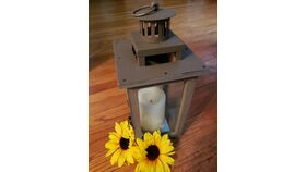 "16"" or 10"" Antique Brown Lantern w/Glass Panels image"