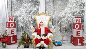 Image of a 6' White Leather Gold Trimmed Throne Chair