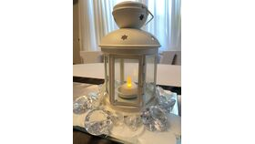 "Image of a 7.5"" White Metal Lantern w/Cutout Stars on Top"