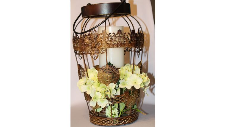 """Picture of a 14"""" Bronze Lantern w/Cutout Floral Etching"""