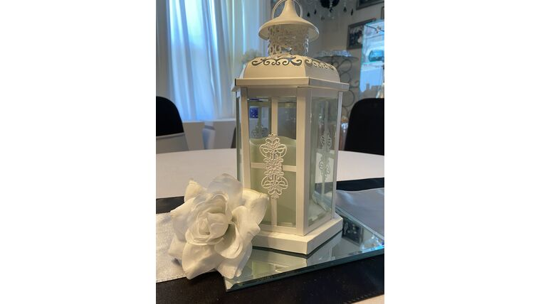 "Picture of a 10.5"" White Metal Lantern"