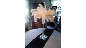 "Image of a 24"" Slender Glass Vase w/Feathers 6"" Square Mirror"
