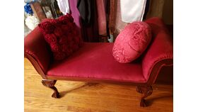 Image of a Red Velvet Double Arm Chair
