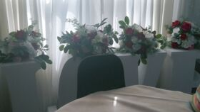 Image of a Floral Arrangements w/ Wine/Rose/White