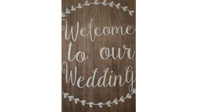 "Image of a Wood Square 30"" Wedding Sign"