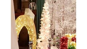 Image of a Oversized Lighted Gold Glitter Ornament