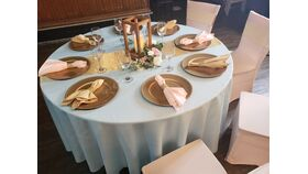 Image of a Baby Pink and Gold  8 Person Table Package