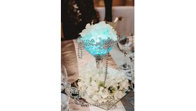 "Image of a Clear Martini Glass w/LED Light/2 Strands of Beads,5 Flower Toppers 1 12"" Mirror , Rock                 12"" Mirror"
