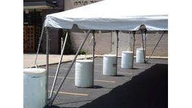 Image of a Tent Stabilizing Barrels