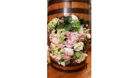 Image of a Half Whiskey Barrel Centerpiece