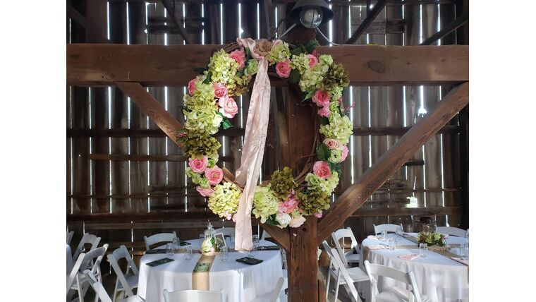 Picture of a Large Decorated Grape Vine Wreath