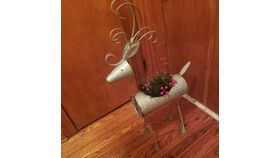 Image of a 3' Rustic Metal Reindeer w/ Holly