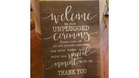 "Image of a Rustic ""Unplugged"" Wedding Sign"