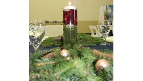 "Image of a 12"" Clear Glass Cylinder Vase w/ Floating Candle w/Live Evergreen & Cranberries/Ornaments"