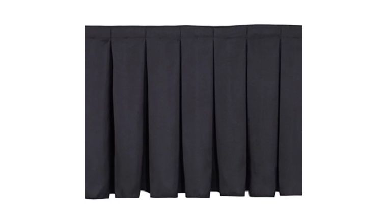 "Picture of a 16"" high x 12' long pleated black skirt"
