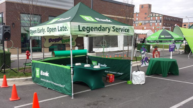 Picture of a 1 TD Branded EZ UP Tent Pop-up