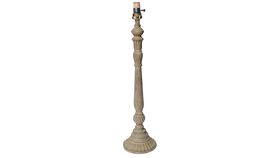 Image of a Antique Wood Round Base Table Lamp