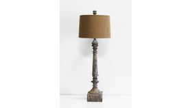 Image of a Antique Wood Square Wood Table Lamp