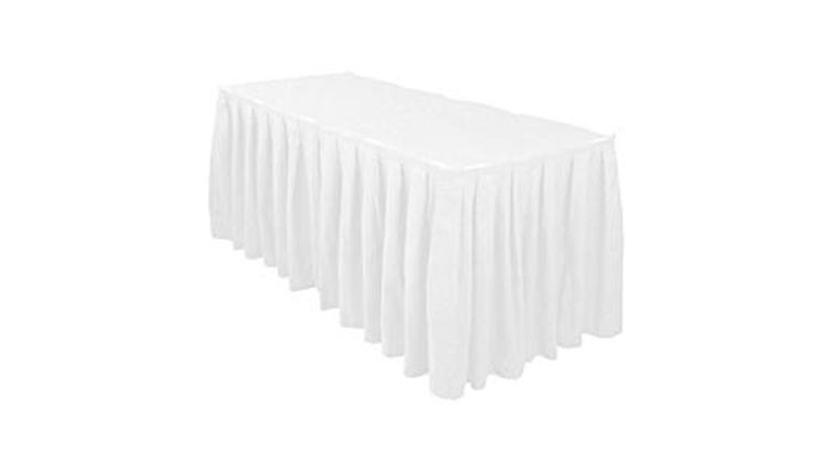 Picture of a 13' White Pleated Table Skirt